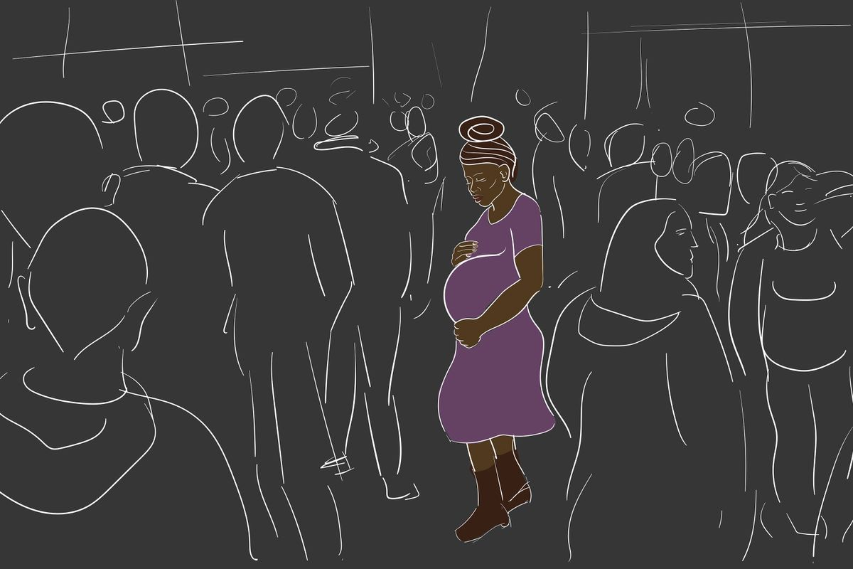 outlines of people with center on pregnant Black woman on dark background